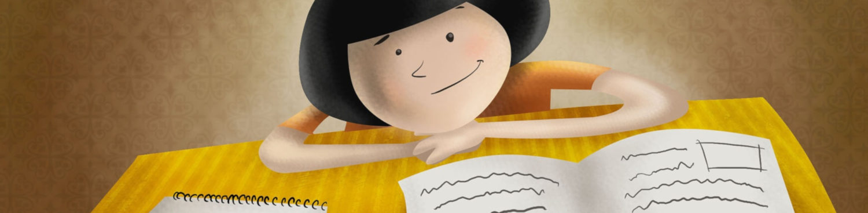 Zeichnung von Student*in der/die lernt